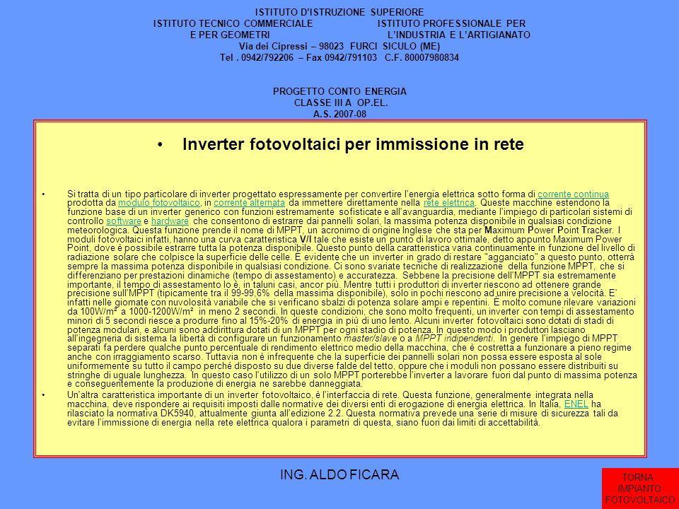 ING. ALDO FICARA ISTITUTO DISTRUZIONE SUPERIORE ISTITUTO TECNICO COMMERCIALE ISTITUTO PROFESSIONALE PER E PER GEOMETRI LINDUSTRIA E LARTIGIANATO Via d