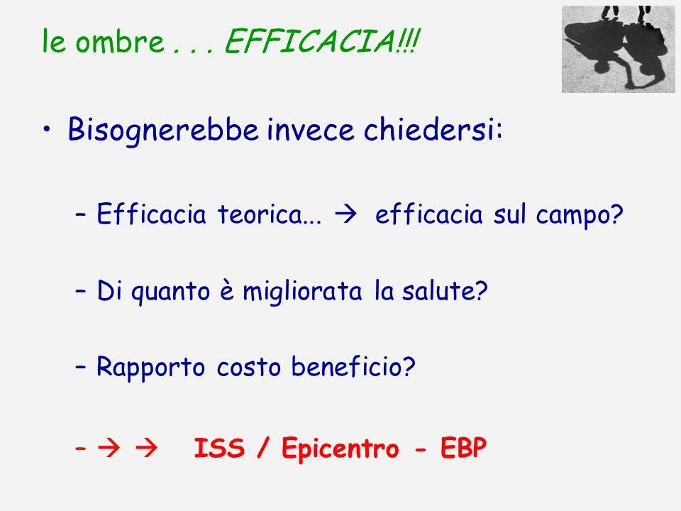 le ombre... EFFICACIA!!! Bisognerebbe invece chiedersi: –Efficacia teorica... efficacia sul campo? –Di quanto è migliorata la salute? –Rapporto costo