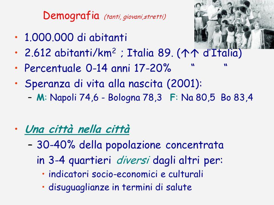 Demografia (tanti, giovani,stretti) 1.000.000 di abitanti 2.612 abitanti/km 2 ; Italia 89. ( dItalia) Percentuale 0-14 anni 17-20% Speranza di vita al