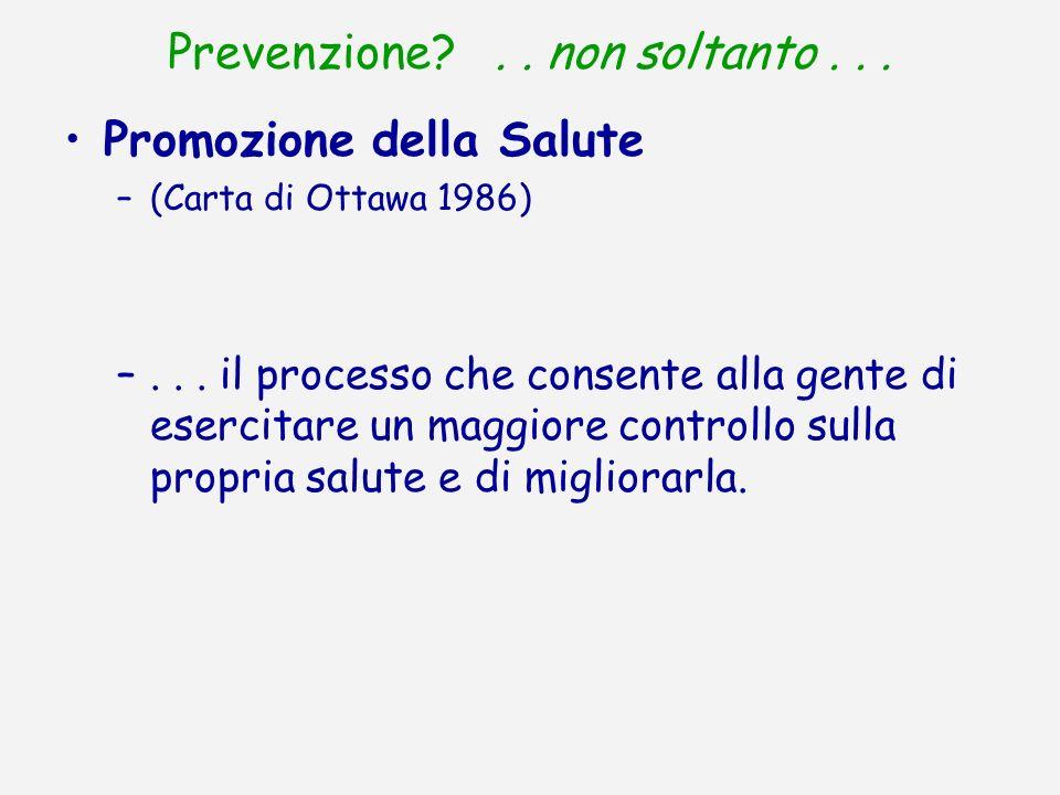 Prevenzione?.. non soltanto... Promozione della Salute –(Carta di Ottawa 1986) –... il processo che consente alla gente di esercitare un maggiore cont