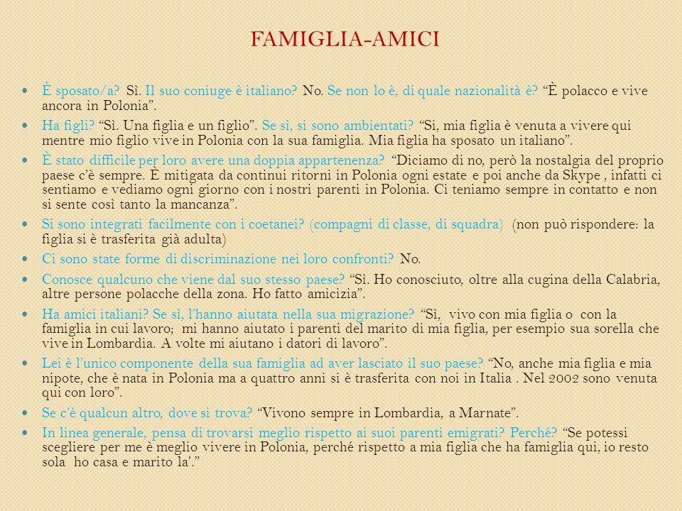 FAMIGLIA-AMICI È sposato/a. Sì. Il suo coniuge è italiano.