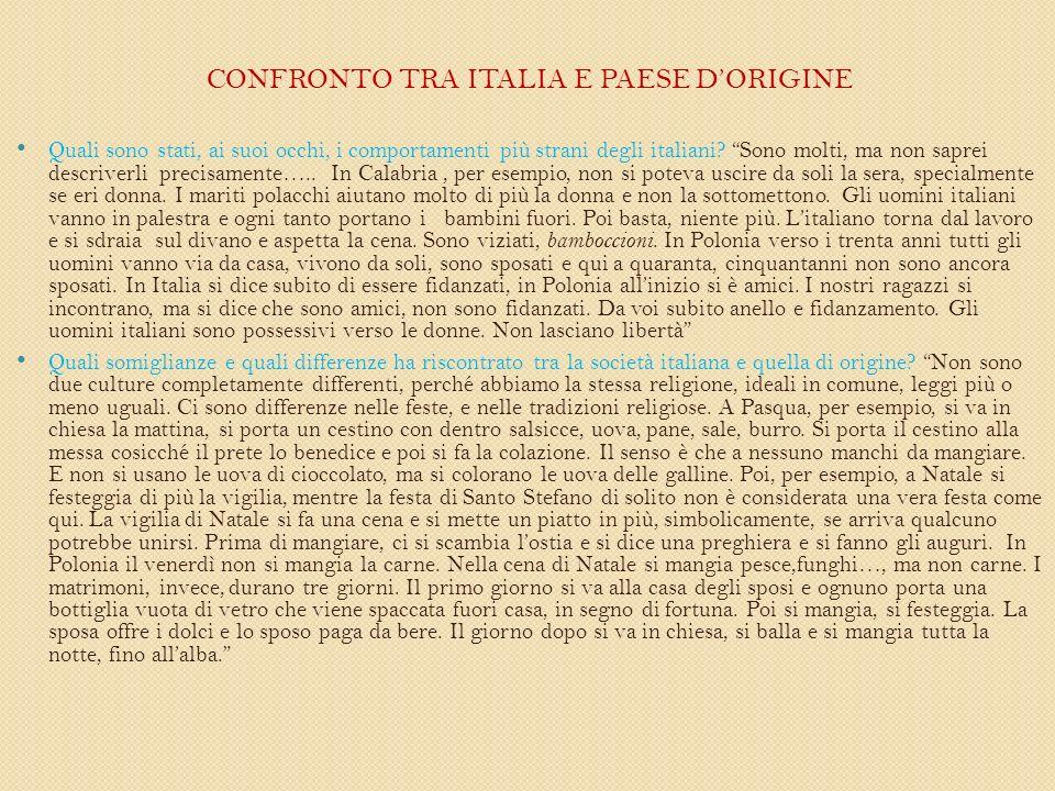 CONFRONTO TRA ITALIA E PAESE DORIGINE Quali sono stati, ai suoi occhi, i comportamenti più strani degli italiani.