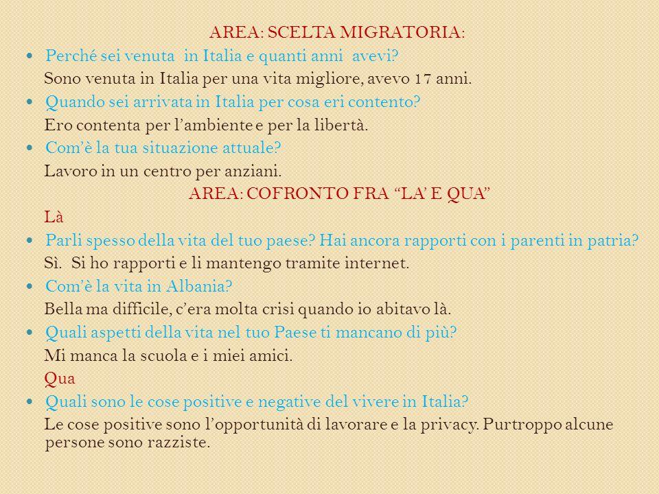 AREA: SCELTA MIGRATORIA: Perché sei venuta in Italia e quanti anni avevi.