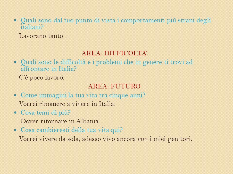 Quali sono dal tuo punto di vista i comportamenti più strani degli italiani.