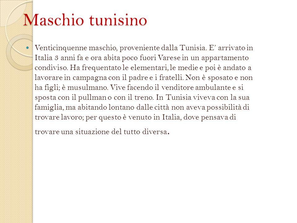 Maschio tunisino Venticinquenne maschio, proveniente dalla Tunisia.