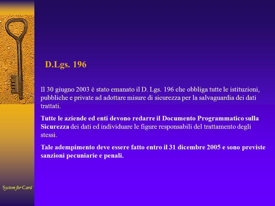 System for Card D.Lgs. 196 Il 30 giugno 2003 è stato emanato il D.