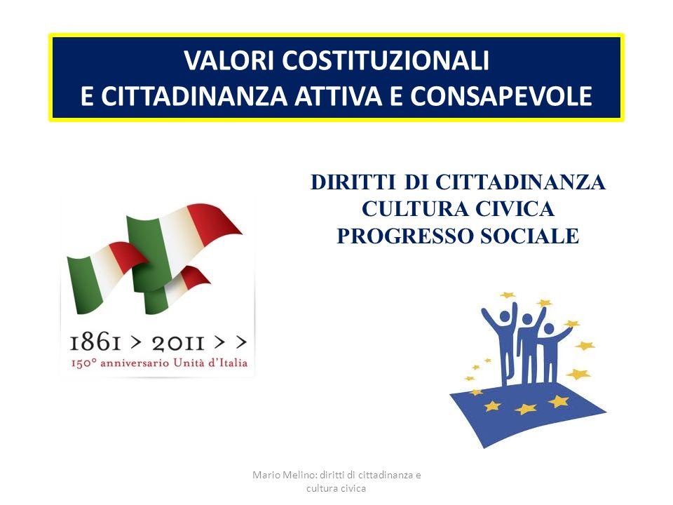 VALORI COSTITUZIONALI E CITTADINANZA ATTIVA E CONSAPEVOLE DIRITTI DI CITTADINANZA CULTURA CIVICA PROGRESSO SOCIALE Mario Melino: diritti di cittadinan