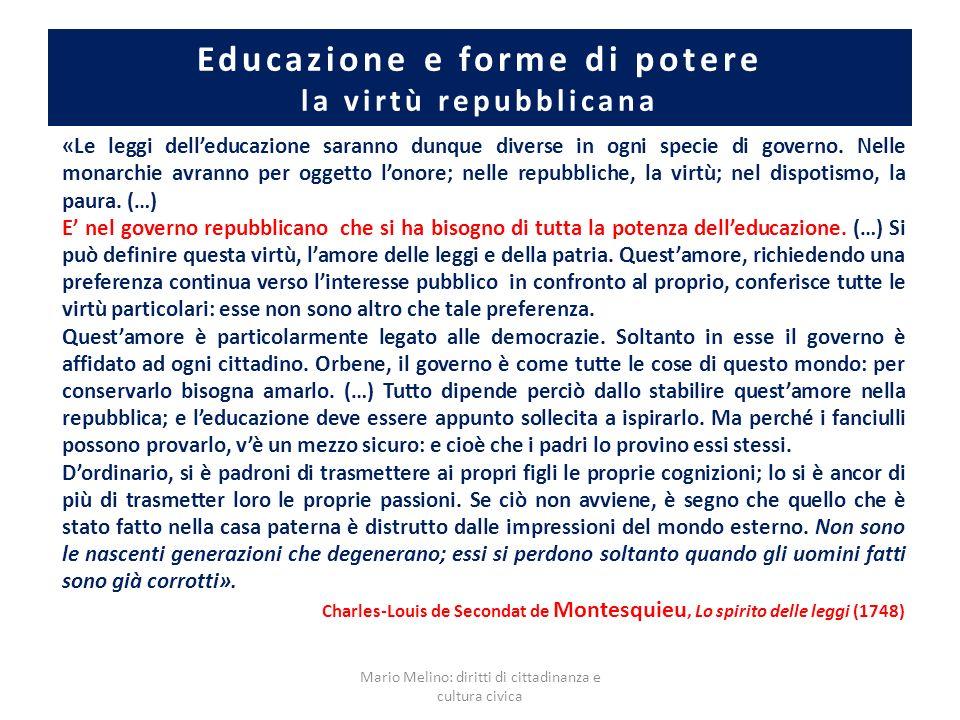Educazione e forme di potere la virtù repubblicana «Le leggi delleducazione saranno dunque diverse in ogni specie di governo. Nelle monarchie avranno