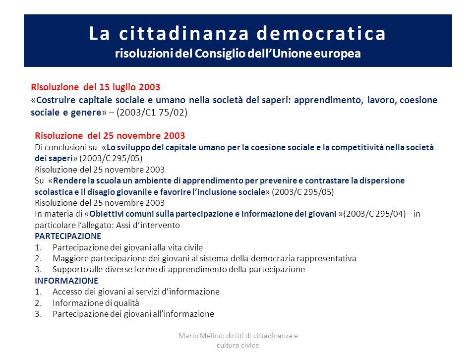 La cittadinanza democratica risoluzioni del Consiglio dellUnione europea Risoluzione del 15 luglio 2003 «Costruire capitale sociale e umano nella soci