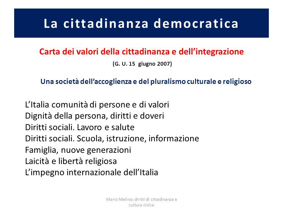 La cittadinanza democratica Carta dei valori della cittadinanza e dellintegrazione (G. U. 15 giugno 2007) LItalia comunità di persone e di valori Dign