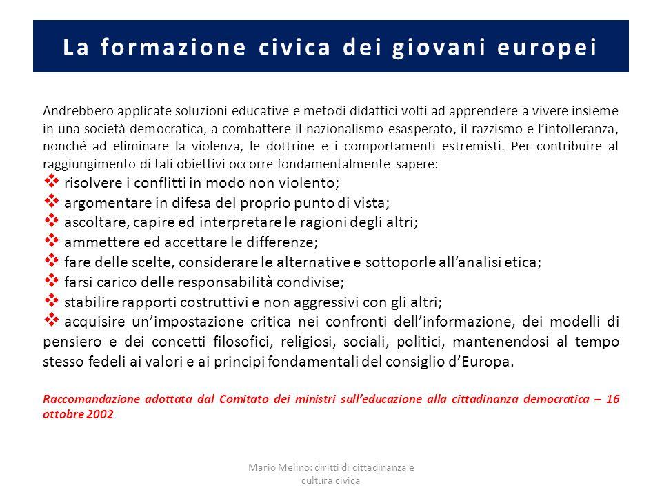 La formazione civica dei giovani europei Andrebbero applicate soluzioni educative e metodi didattici volti ad apprendere a vivere insieme in una socie