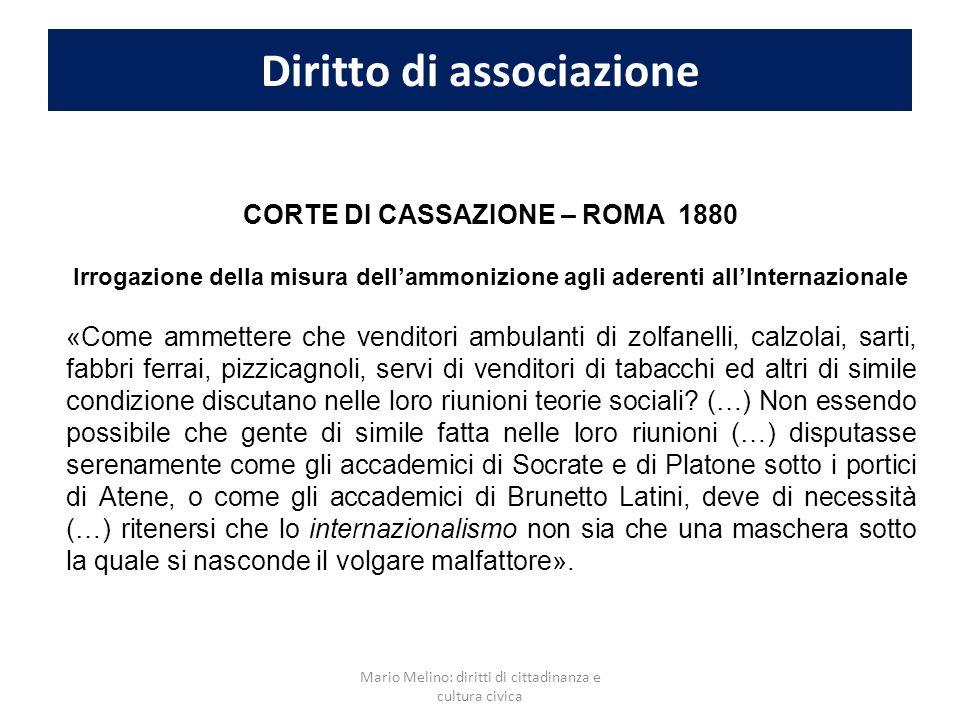 Diritto di associazione CORTE DI CASSAZIONE – ROMA 1880 Irrogazione della misura dellammonizione agli aderenti allInternazionale «Come ammettere che v
