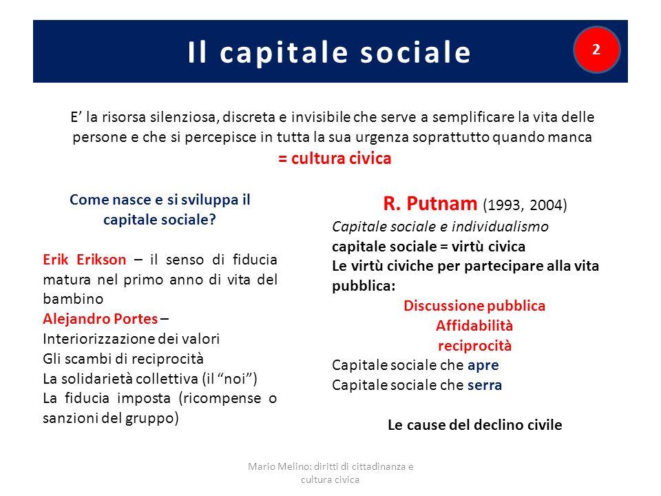 Il capitale sociale Mario Melino: diritti di cittadinanza e cultura civica 2 Come nasce e si sviluppa il capitale sociale? Erik Erikson – il senso di