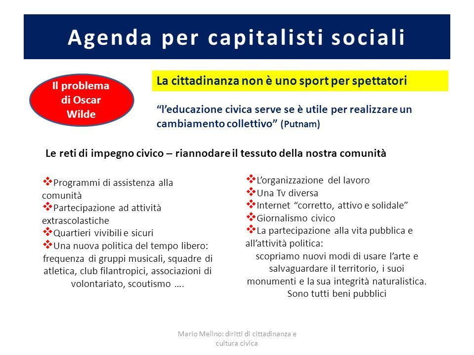 Agenda per capitalisti sociali Mario Melino: diritti di cittadinanza e cultura civica Il problema di Oscar Wilde La cittadinanza non è uno sport per s