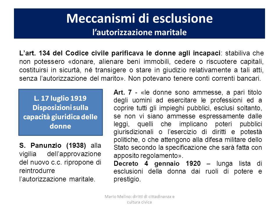 Meccanismi di esclusione lautorizzazione maritale Lart. 134 del Codice civile parificava le donne agli incapaci: stabiliva che non potessero «donare,