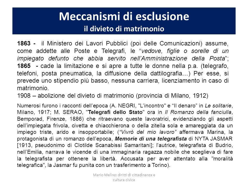 Meccanismi di esclusione il divieto di matrimonio 1863 - il Ministero dei Lavori Pubblici (poi delle Comunicazioni) assume, come addette alle Poste e