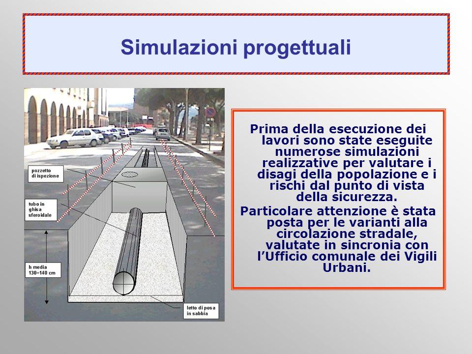 Simulazioni progettuali Prima della esecuzione dei lavori sono state eseguite numerose simulazioni realizzative per valutare i disagi della popolazion