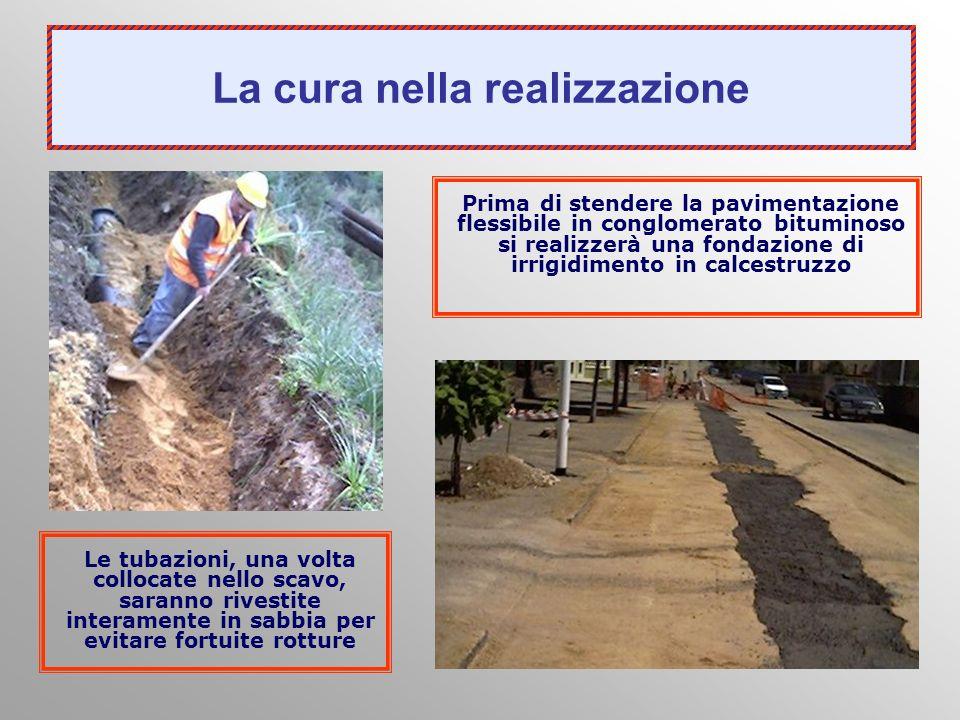 Prima di stendere la pavimentazione flessibile in conglomerato bituminoso si realizzerà una fondazione di irrigidimento in calcestruzzo Le tubazioni,