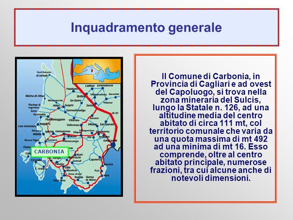 Inquadramento generale Il Comune di Carbonia, in Provincia di Cagliari e ad ovest del Capoluogo, si trova nella zona mineraria del Sulcis, lungo la St