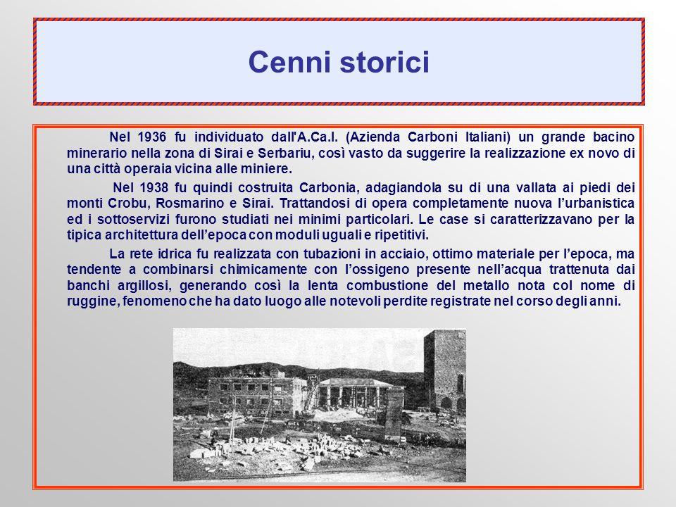 Cenni storici Nel 1936 fu individuato dall'A.Ca.I. (Azienda Carboni Italiani) un grande bacino minerario nella zona di Sirai e Serbariu, così vasto da