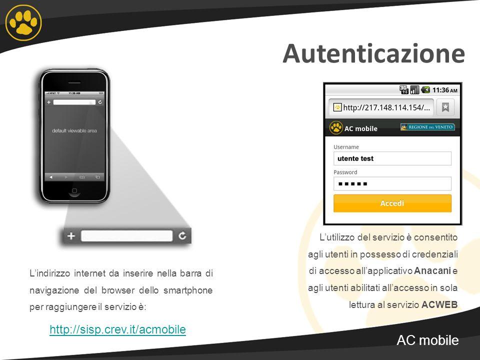 Autenticazione Lindirizzo internet da inserire nella barra di navigazione del browser dello smartphone per raggiungere il servizio è: http://sisp.crev