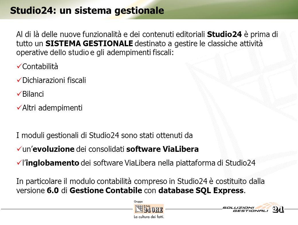 Studio24: un sistema gestionale Al di là delle nuove funzionalità e dei contenuti editoriali Studio24 è prima di tutto un SISTEMA GESTIONALE destinato