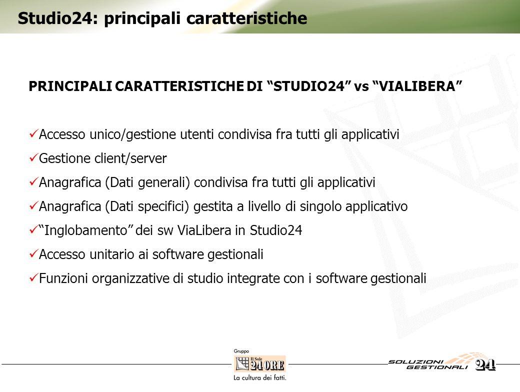Studio24: principali caratteristiche PRINCIPALI CARATTERISTICHE DI STUDIO24 vs VIALIBERA Accesso unico/gestione utenti condivisa fra tutti gli applica