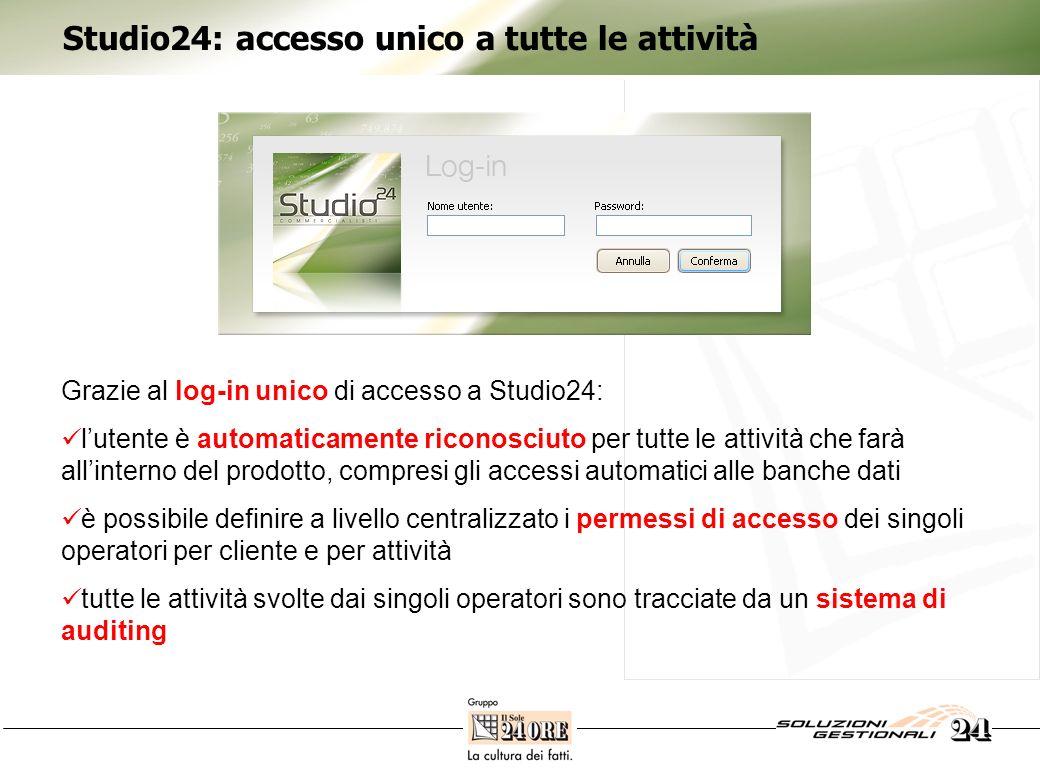 Studio24: accesso unico a tutte le attività Grazie al log-in unico di accesso a Studio24: lutente è automaticamente riconosciuto per tutte le attività