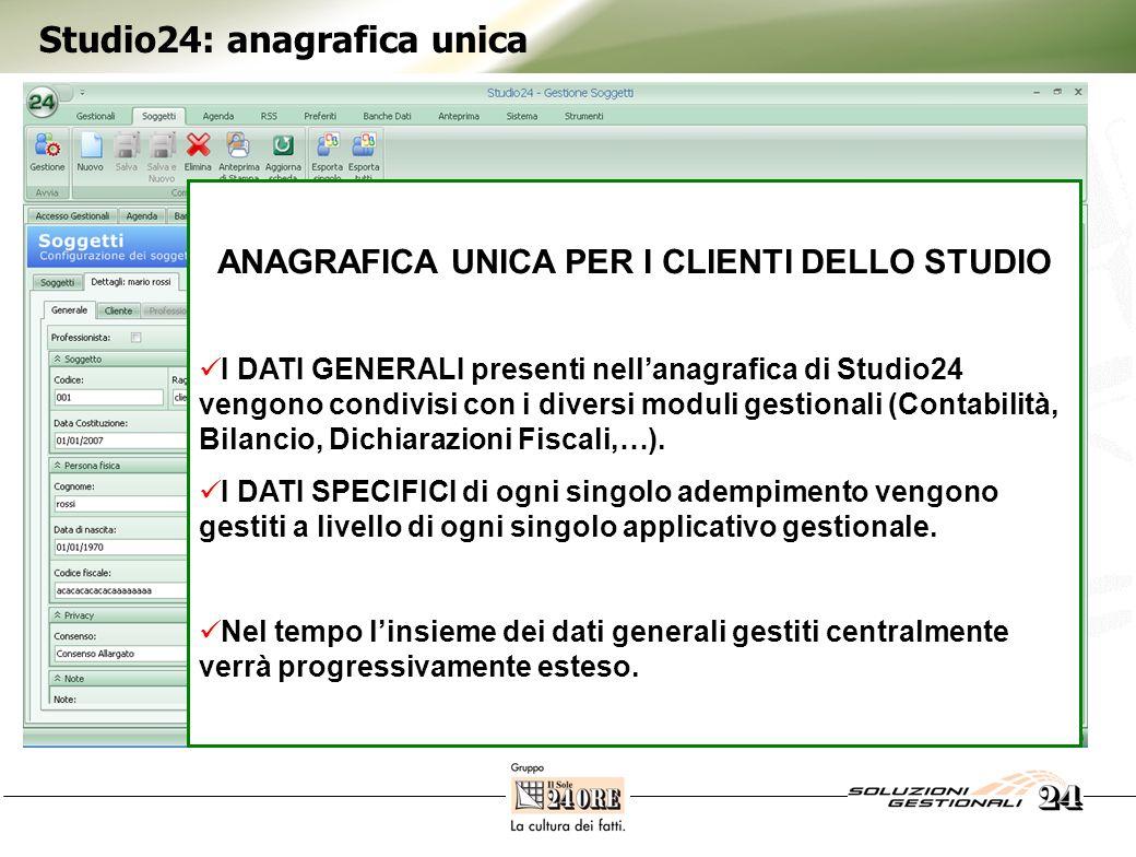 Studio24: anagrafica unica ANAGRAFICA UNICA PER I CLIENTI DELLO STUDIO I DATI GENERALI presenti nellanagrafica di Studio24 vengono condivisi con i div