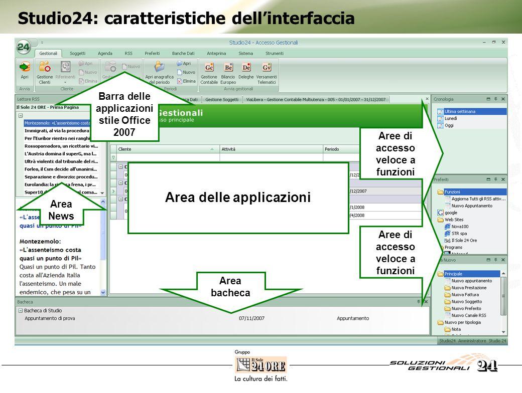 Studio24: caratteristiche dellinterfaccia Linterfaccia di Studio24 è interamente configurabile e personalizzabile dal singolo utente, sulla base dei prodotti e servizi effettivamente acquistati e in base alle proprie preferenze operative.