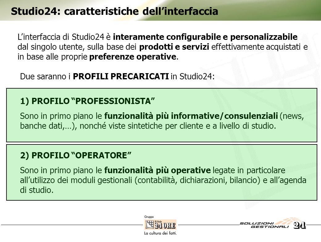 Studio24: caratteristiche dellinterfaccia Linterfaccia di Studio24 è interamente configurabile e personalizzabile dal singolo utente, sulla base dei p