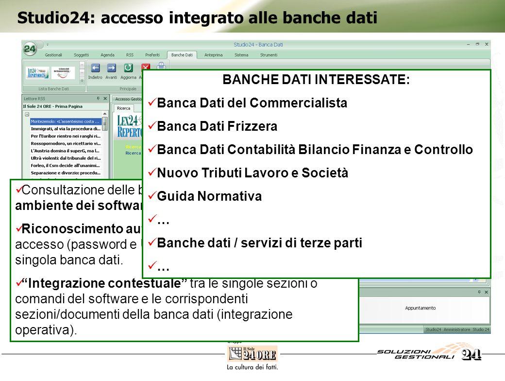 Studio24: accesso integrato alle banche dati Consultazione delle banche dati on line nel medesimo ambiente dei software gestionali Riconoscimento automatico delle credenziali di accesso (password e UserID), se il cliente è abbonato alla singola banca dati.