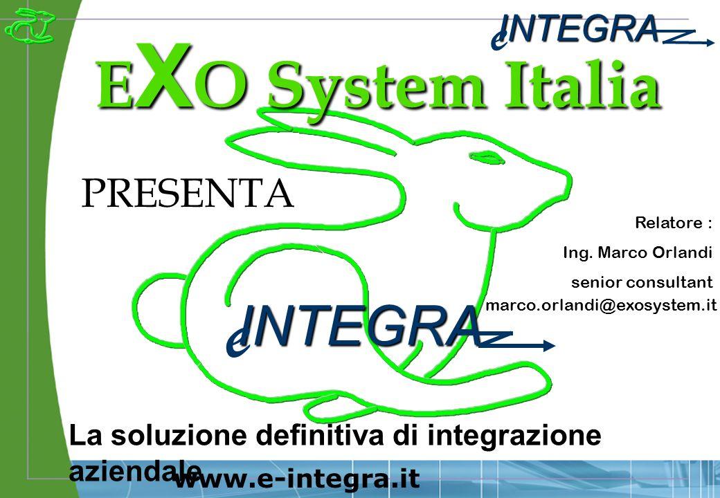 INTEGRA e www.e-integra.it E X O System Italia PRESENTA INTEGRA e La soluzione definitiva di integrazione aziendale Relatore : Ing.
