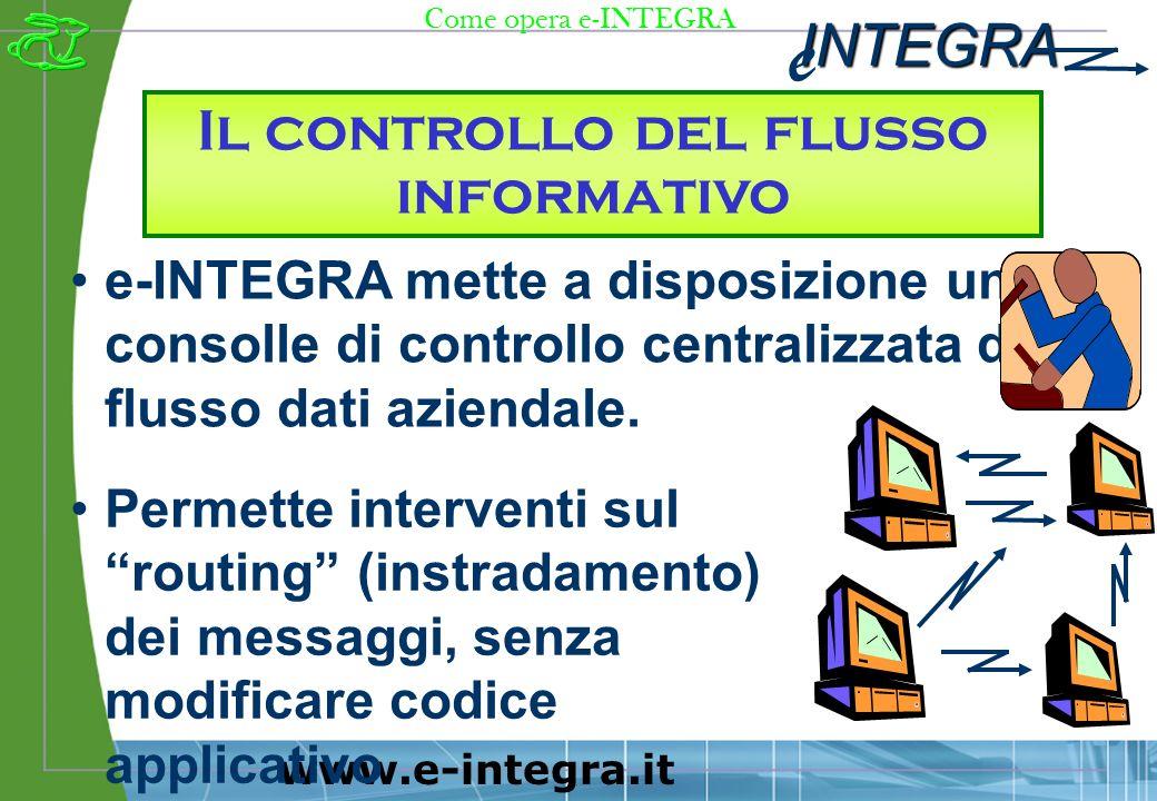 INTEGRA e www.e-integra.it Il controllo del flusso informativo e-INTEGRA mette a disposizione una consolle di controllo centralizzata del flusso dati aziendale.