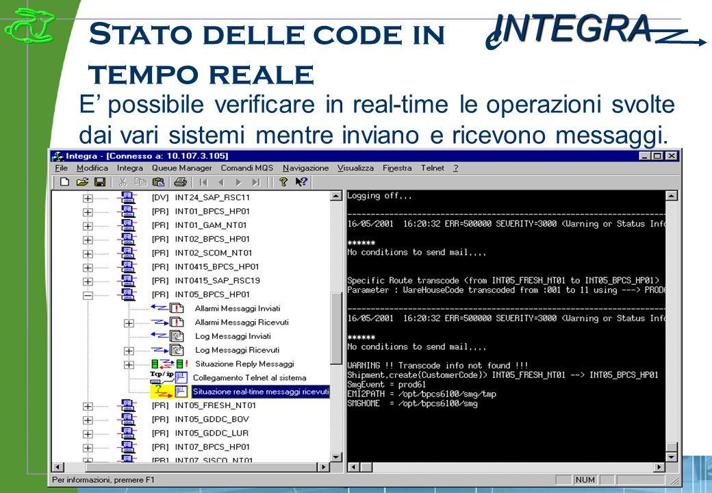 INTEGRA e www.e-integra.it Stato delle code in tempo reale E possibile verificare in real-time le operazioni svolte dai vari sistemi mentre inviano e ricevono messaggi.