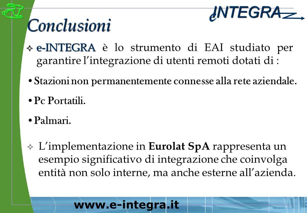 INTEGRA e www.e-integra.it ² e-INTEGRA ² e-INTEGRA è lo strumento di EAI studiato per garantire lintegrazione di utenti remoti dotati di : Conclusioni Stazioni non permanentemente connesse alla rete aziendale.
