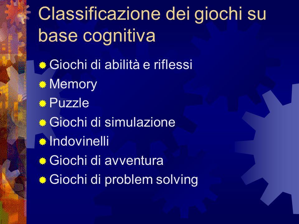 Classificazione dei giochi su base cognitiva Giochi di abilità e riflessi Memory Puzzle Giochi di simulazione Indovinelli Giochi di avventura Giochi di problem solving