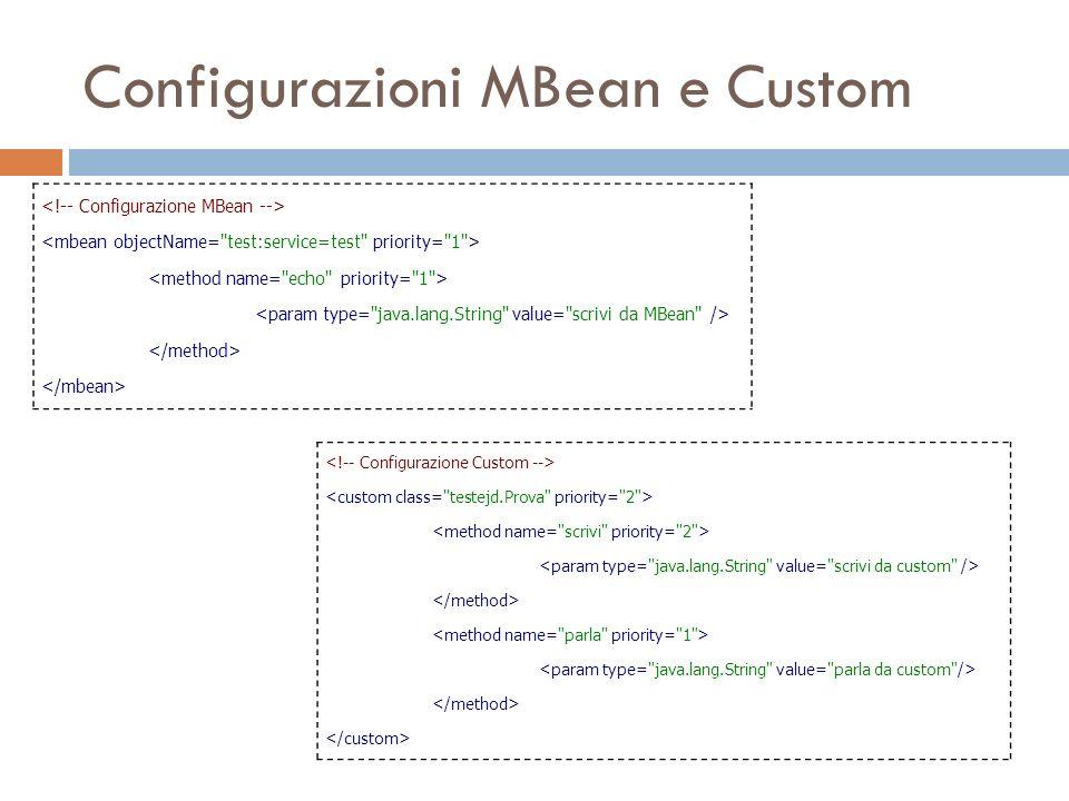Configurazioni MBean e Custom