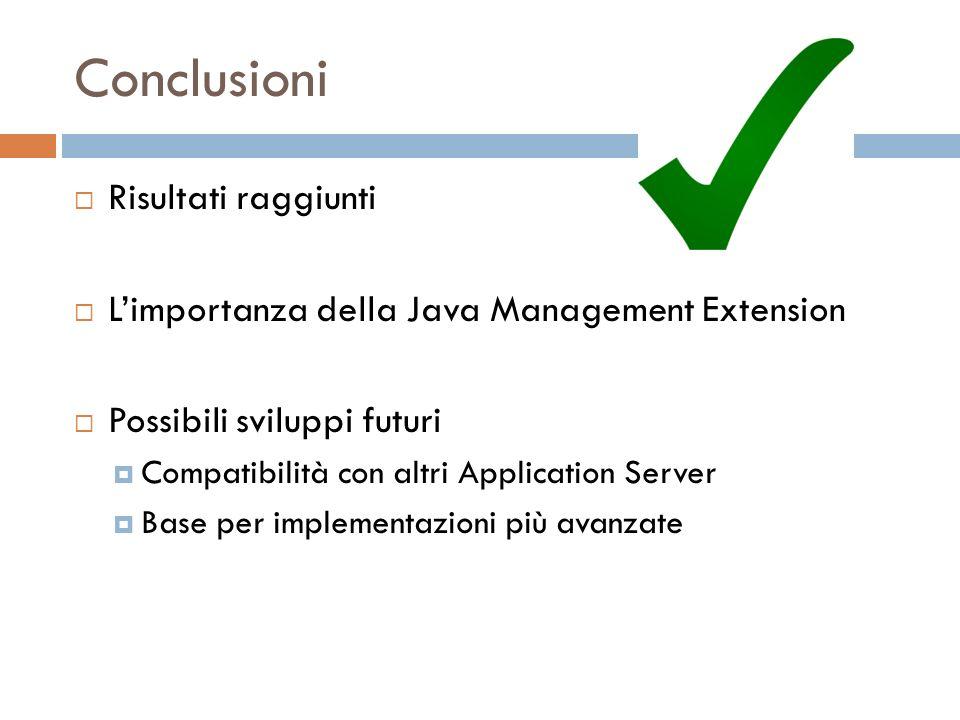 Conclusioni Risultati raggiunti Limportanza della Java Management Extension Possibili sviluppi futuri Compatibilità con altri Application Server Base per implementazioni più avanzate
