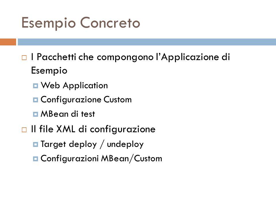 Esempio Concreto I Pacchetti che compongono lApplicazione di Esempio Web Application Configurazione Custom MBean di test Il file XML di configurazione Target deploy / undeploy Configurazioni MBean/Custom