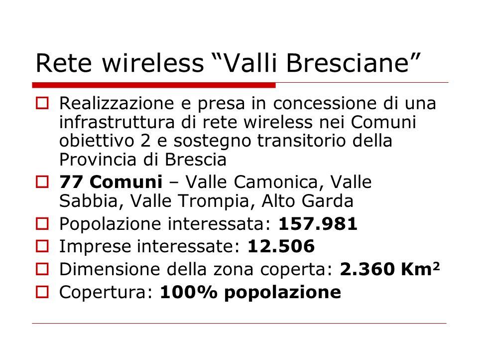 Rete wireless Valli Bresciane Realizzazione e presa in concessione di una infrastruttura di rete wireless nei Comuni obiettivo 2 e sostegno transitori