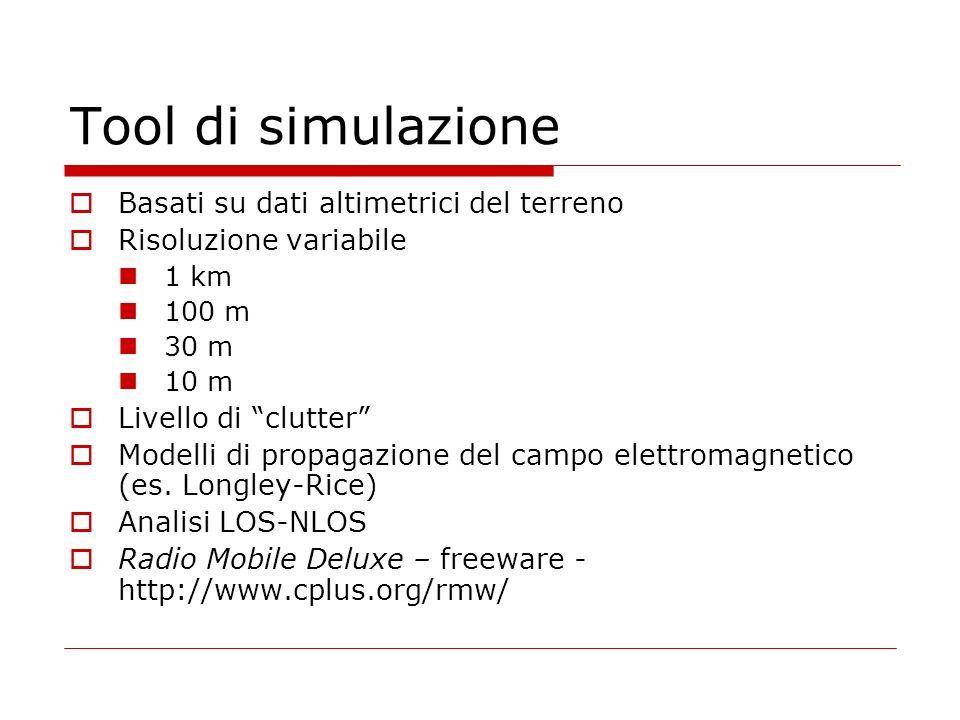 Tool di simulazione Basati su dati altimetrici del terreno Risoluzione variabile 1 km 100 m 30 m 10 m Livello di clutter Modelli di propagazione del campo elettromagnetico (es.