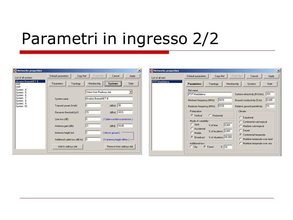 Parametri in ingresso 2/2