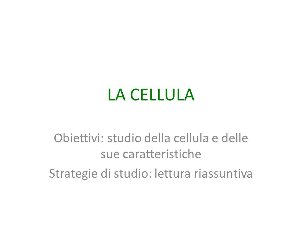LA CELLULA Obiettivi: studio della cellula e delle sue caratteristiche Strategie di studio: lettura riassuntiva