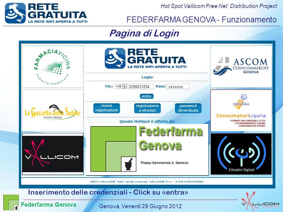 Hot Spot Vallicom Free Net Distribution Project FEDERFARMA GENOVA - Funzionamento Pagina di Login Inserimento delle credenziali - Click su «entra» 3356631254 info@retegratuita.it Carlo Rossi 3356631254xxxxxxx Genova, Venerdì 29 Giugno 2012 Federfarma Genova