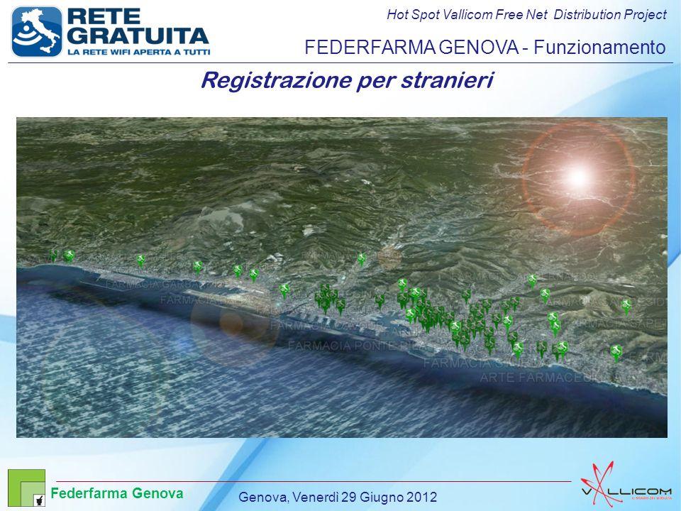 Hot Spot Vallicom Free Net Distribution Project FEDERFARMA GENOVA - Funzionamento Registrazione per stranieri Genova, Venerdì 29 Giugno 2012 Federfarma Genova