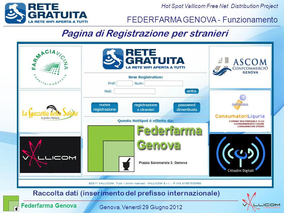 Hot Spot Vallicom Free Net Distribution Project FEDERFARMA GENOVA - Funzionamento Pagina di Registrazione per stranieri Raccolta dati (inserimento del prefisso internazionale) Genova, Venerdì 29 Giugno 2012 Federfarma Genova