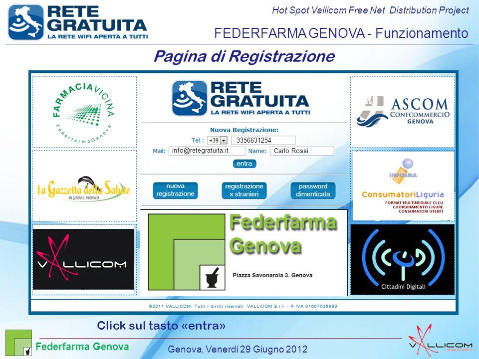 Hot Spot Vallicom Free Net Distribution Project FEDERFARMA GENOVA - Funzionamento Pagina di Registrazione Click sul tasto «entra» 3356631254 info@retegratuita.it Carlo Rossi Genova, Venerdì 29 Giugno 2012 Federfarma Genova