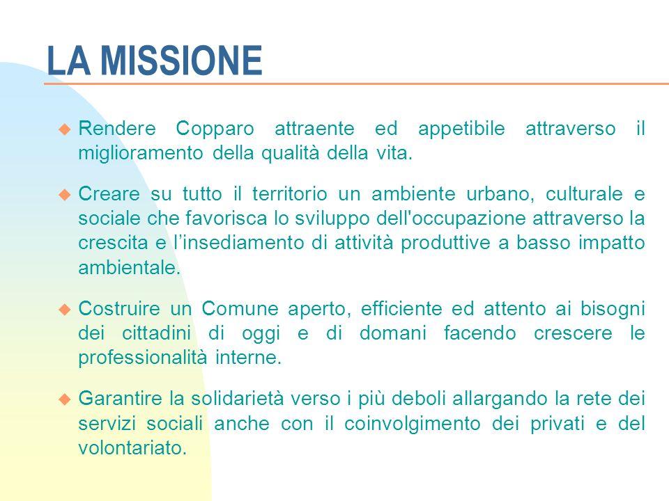 LA MISSIONE u Rendere Copparo attraente ed appetibile attraverso il miglioramento della qualità della vita.