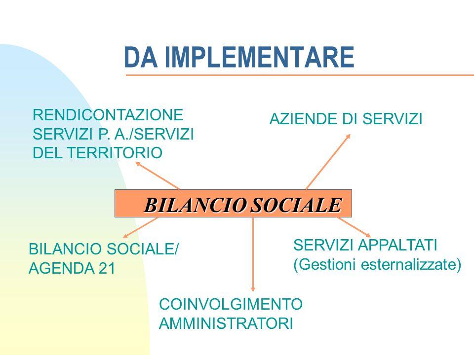 DA IMPLEMENTARE BILANCIO SOCIALE RENDICONTAZIONE SERVIZI P.